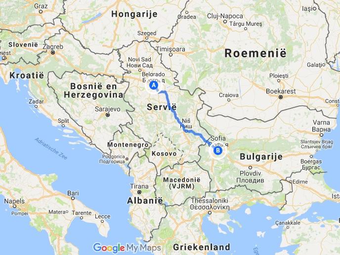 De route van Belgrado naar Sofia